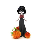 Cute Halloween Gothic toon posing with pumpkins Stock Image