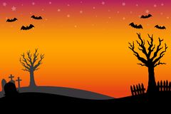 Free Cute Halloween Graveyard Background Stock Images - 129751854