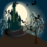 Cute Halloween haunted castle illustration Royalty Free Stock Photos