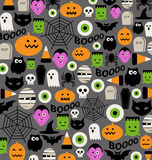 Cute halloween icon pattern. Many iconic halloween design elements vector illustration