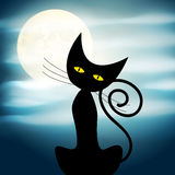 Cute Halloween illustration with full Moon, clouds and black cat Royalty Free Stock Photography