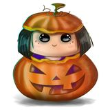 Cute halloween illustration - trick or treat little girl in a spooky carved pumpkin head stock illustration