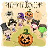 Cute Halloween Illustration With Kids Stock Image
