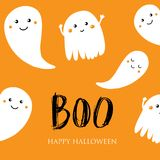 Cute halloween invitation or greeting card. Small smiling ghosts and text Boo. Can be used for wallpaper, greeting cards, invitation, textile patterns, web Stock Photography