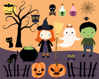 Cute Halloween kids, cats, a ghost Stock Image