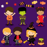 Cute Halloween kids. Six children trick or treating in Halloween costume. Devil, skeleton, pumpkin, franky, vampire and witch Stock Image