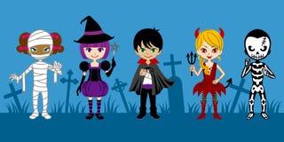 Cute Halloween Monsters,in graveyard Stock Photos