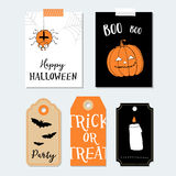 Cute Halloween party cards, invitations. Paper gift tags. Pumpkin, spider, bat.  Hand drawn  illustration backgrounds. Stock Photos