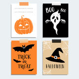 Cute Halloween party cards, invitations. Pumpkin, ghost, bat, witch hat.  Hand drawn  illustration backgrounds Royalty Free Stock Photography