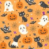 Cute Halloween pattern. Halloween seamless pattern with cute pumpkins, ghosts, black cat, bats, raven, skin-walker and sweets on orange background Stock Image