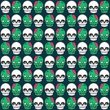Cute Halloween pattern with skull and zombie Stock Photos