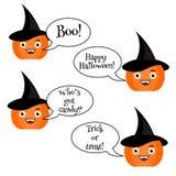 Cute halloween pumpkin emoji set. Emoticons, stickers Stock Photo