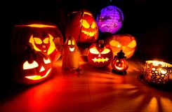 Cute Halloween pumpkins at night - halloween party background Royalty Free Stock Photo