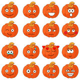 Cute Halloween pumpkins. Halloween pumpkin jack-o-lantern with  making different funny face expressions/vector illustration isolated on white background Stock Photos
