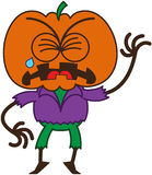 Cute Halloween scarecrow crying and sobbing. Cute scarecrow with a big orange pumpkin as head, bulging eyes, wearing a purple shirt and green pants, while Royalty Free Stock Photos
