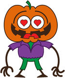 Cute Halloween scarecrow in love. Funny scarecrow with a big orange pumpkin as head, red heart eyes, wearing a purple shirt and green pants, while feeling madly Stock Images