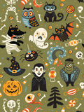 Cute Halloween seamless pattern with cartoon characters Stock Image