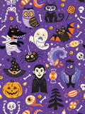 Cute Halloween seamless pattern with cartoon characters Royalty Free Stock Image