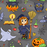 Cute Halloween seamless pattern Stock Photography