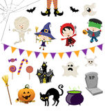 Cute Halloween Set. Collection of cute halloween elements Stock Images