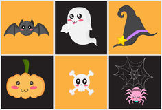 Cute Halloween Set. Cute Halloween design. There are a bat, a ghost, a hat, a pumpkin, a cranium, a spider Royalty Free Illustration
