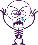 Cute Halloween skeleton crying and sobbing Stock Images