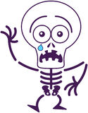 Cute Halloween skeleton feeling scared Royalty Free Stock Image