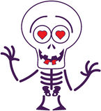 Cute Halloween skeleton in love Stock Photography