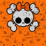 Cute Halloween Skull with bow. Halloween Skull with bow on dotted background with place for copy/text Royalty Free Stock Photos