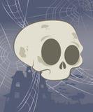 Halloween Skull Scene. Cute Halloween skull suspended by spider webs stock illustration