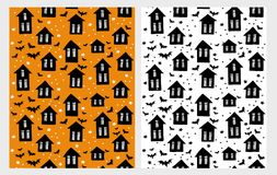 Cute Halloween Vector Pattern Set. Scary Houses whit Black Bats. White, Black and Orange Childish Style Design. Hand Drawn Infantile Design. Scary Houses with stock illustration