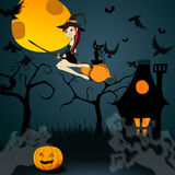 Cute Halloween witch with black cat flying in fron Stock Photos