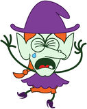 Cute Halloween witch crying and sobbing Stock Photos