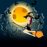 Cute Halloween witch flying in front of a full Moo Royalty Free Stock Photos