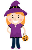 Cute halloween witch girl Stock Image