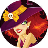 Cute Halloween witch portrait stock illustration