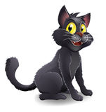 Cute Halloween Witches Cat Cartoon. An illustration of a cute happy cartoon Halloween black witches cat character Stock Image