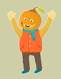 Cute hallowen boy in pumkin Royalty Free Stock Images