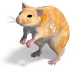 Cute hamster. 3D rendering of a sweet hamster with clipping path and shadow over white stock illustration