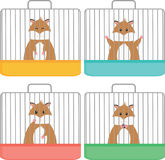 Cute hamster in cage, different emotion, flat style. Royalty Free Stock Photography