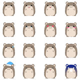 Cute hamster emotional icons Royalty Free Stock Image