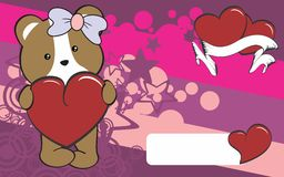 Cute hamster girl cartoon valentine backgorund Royalty Free Stock Photography