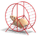 Cute hamster in a hamster wheel. 3D rendering of a sweet hamster with clipping path and shadow over white vector illustration