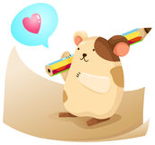 Cute hamster with note paper Stock Photography