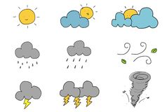 Cute Hand Draw Weather Icon Stock Images
