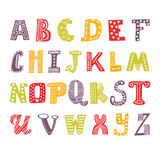 Cute hand drawing alphabet. Funny font. Hand drawn design. Vector illustration Royalty Free Stock Photos