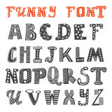Cute hand drawing alphabet. Funny font. Vector illustration Royalty Free Stock Photo