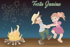 Cute hand-drawing of dancing children, bonfire an. Cute hand-drawn dancing children, bonfire and fireworks. Festa Junina vector elements on night time background Stock Photos
