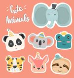 Cute hand drawing wild animal head clip art icon in pastel color collection flat vector. Elephant, panda, koala, frog, sloth, squrrel, tiger vector illustration
