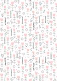 Cute Hand Drawn Abstract Floral Vector Pattern. Infantile Style Design. Pink Flowers and Hearts, Grey Twigs. White Background. royalty free illustration